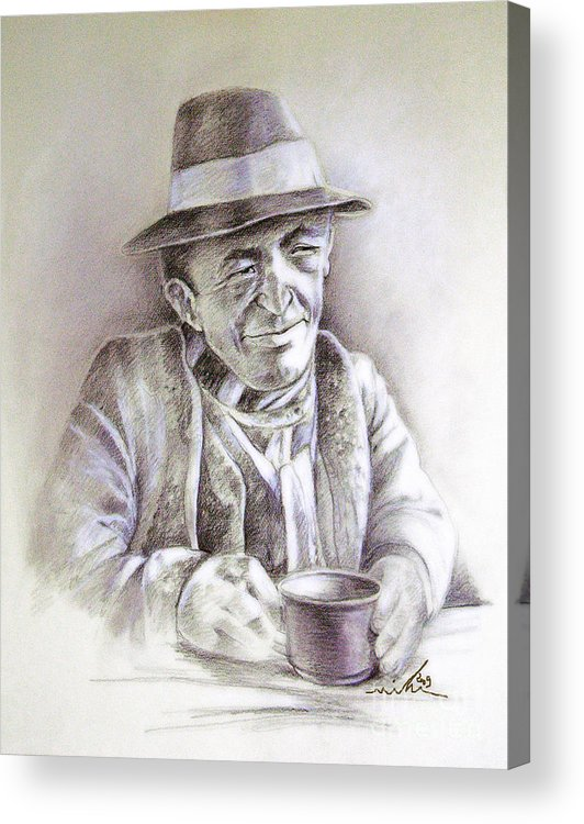 Portrait Michael Anderson Acrylic Print featuring the painting Michael J Anderson by Miki De Goodaboom
