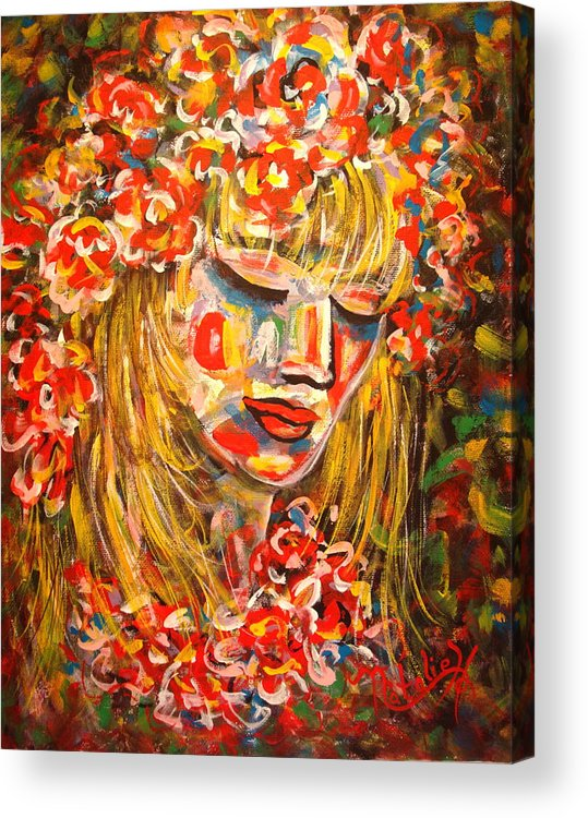Girl Acrylic Print featuring the painting Nature Girl by Natalie Holland