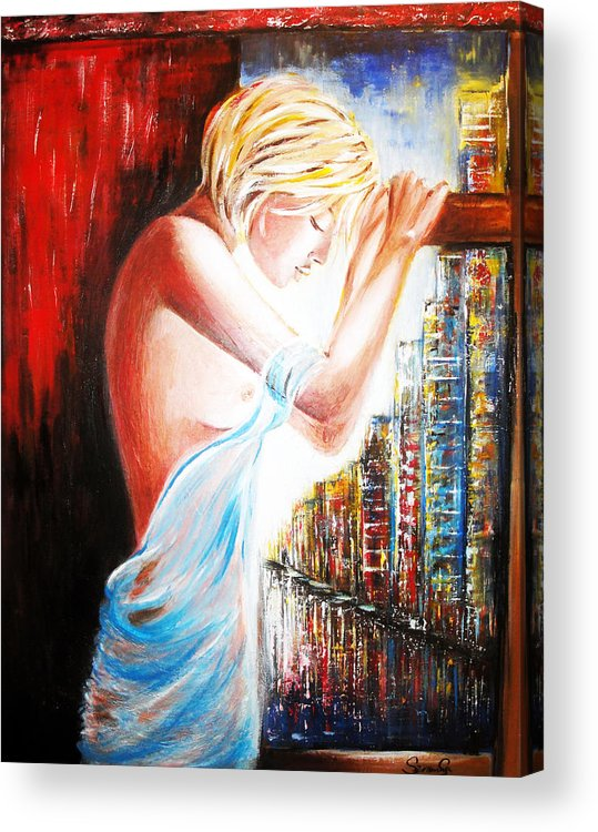 Woman Acrylic Print featuring the painting Night In The City by Svetlana Semenova