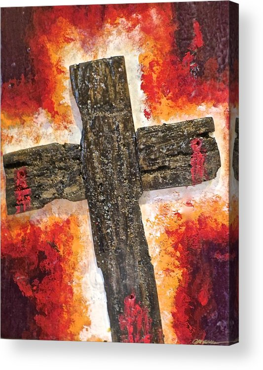 Deep Acrylic Print featuring the painting Old Rugged Cross by Jim Ellis