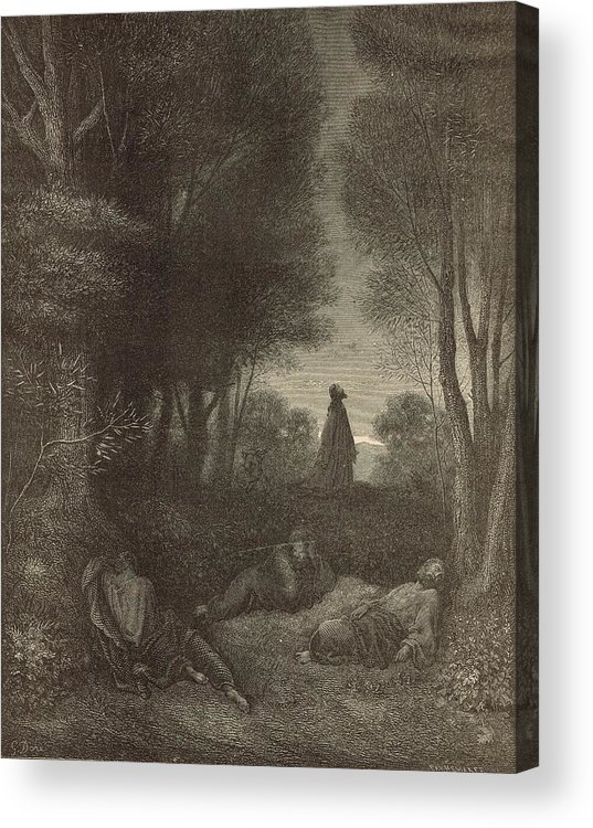 Biblical Acrylic Print featuring the drawing Prayer Of Jesus In The Garden Of Olives by Antique Engravings