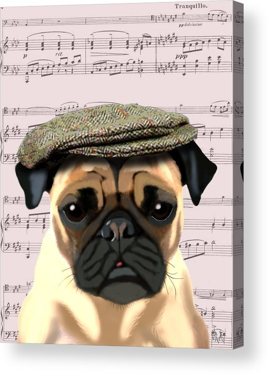 Pug Framed Prints Acrylic Print featuring the digital art Pug In A Flat Cap by Kelly McLaughlan