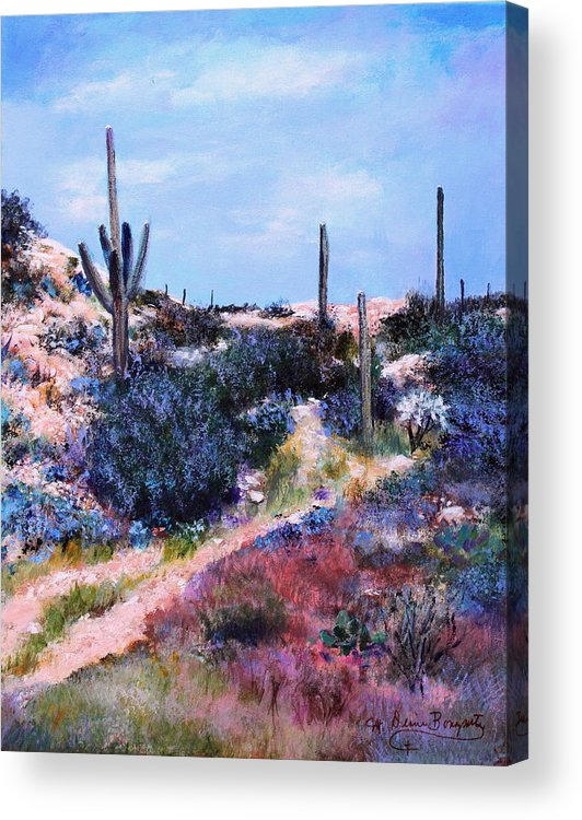Southwest Acrylic Print featuring the painting Purple Time Of Day by M Diane Bonaparte