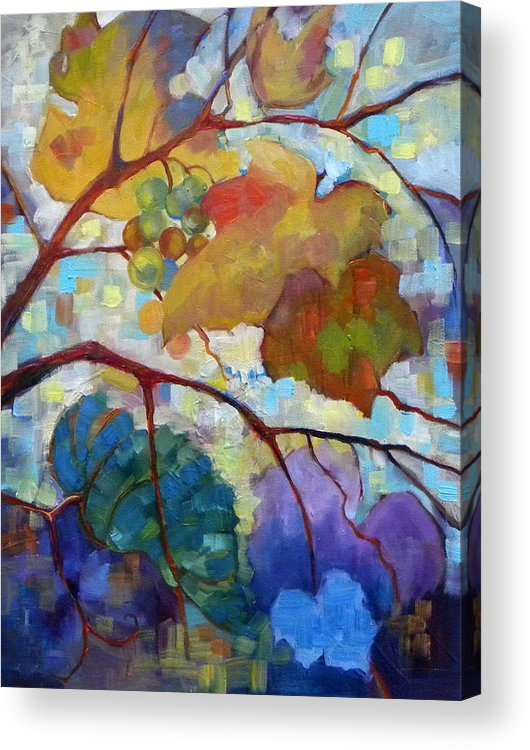 Grapes Acrylic Print featuring the painting Red Grape Vines IIi by Peggy Wilson
