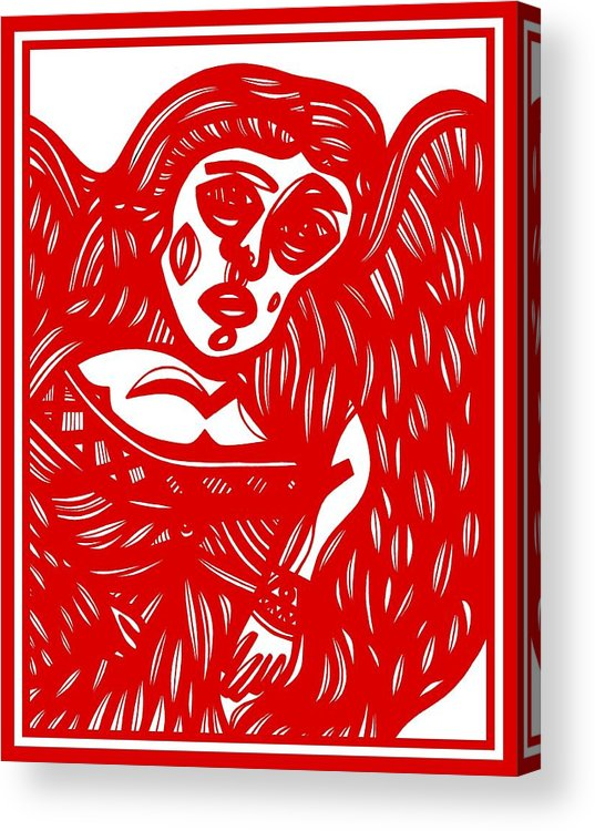 Red Acrylic Print featuring the drawing Buszak Angel Cherub Red White by Eddie Alfaro