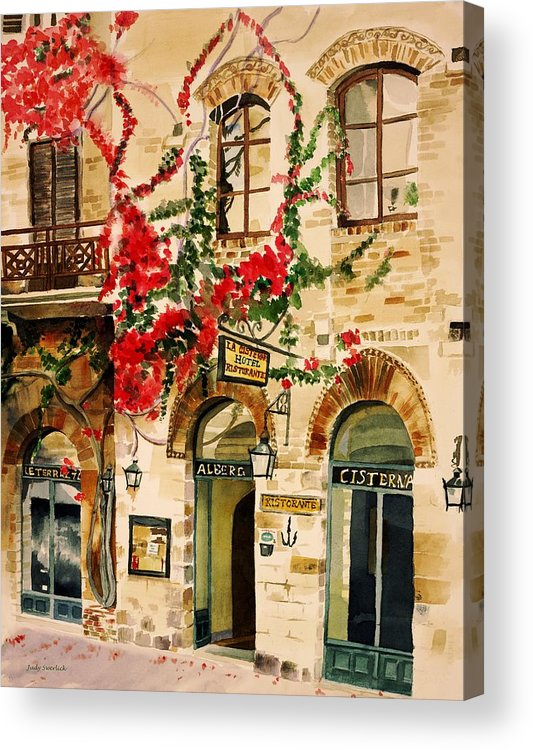 Award-winning Acrylic Print featuring the painting San Gimignano by Judy Swerlick