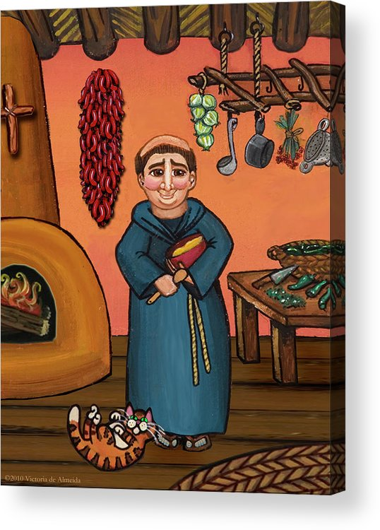 Folk Art Acrylic Print featuring the painting San Pascual And Vigas by Victoria De Almeida