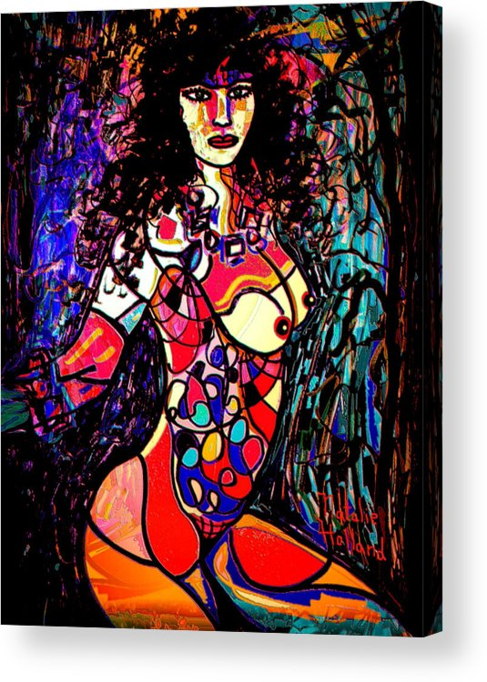 Artistic Nude Acrylic Print featuring the mixed media Show Off by Natalie Holland