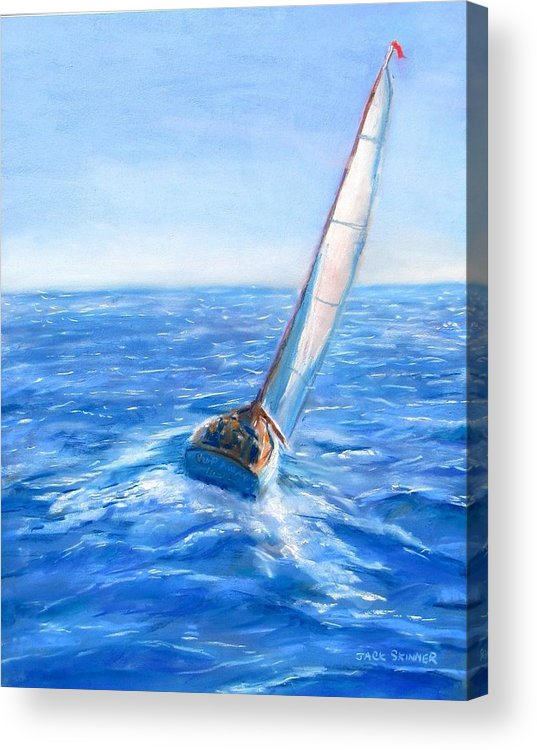 Sailboat Acrylic Print featuring the painting Slip Away by Jack Skinner