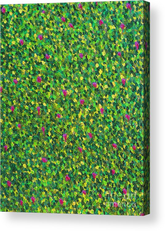Abstract Acrylic Print featuring the painting Soft Green With Pink by Dean Triolo
