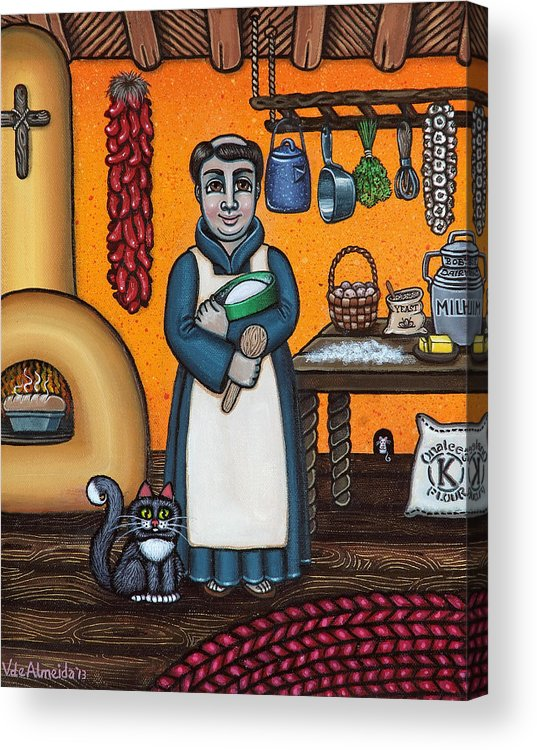 San Pascual Acrylic Print featuring the painting St. Pascual Making Bread by Victoria De Almeida