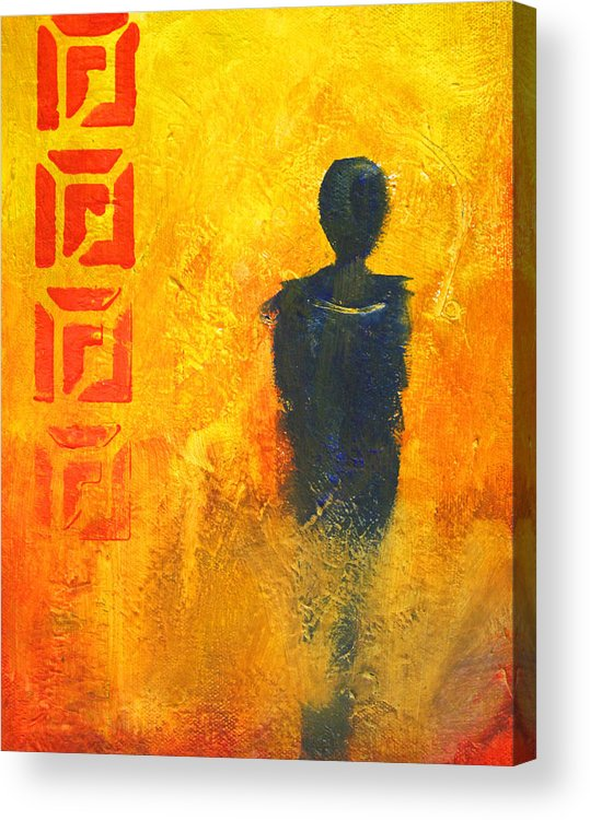 Abstract Figure Acrylic Print featuring the painting Standing Alone by Nancy Merkle