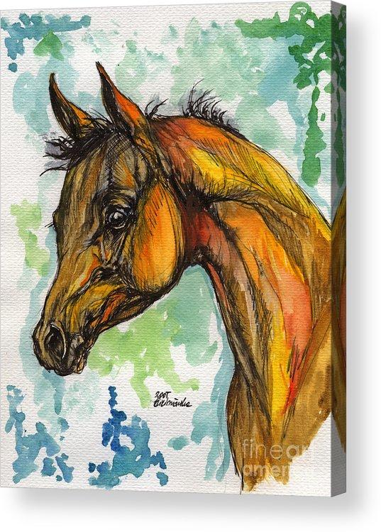 Horse Acrylic Print featuring the painting The Arabian Foal by Angel Ciesniarska