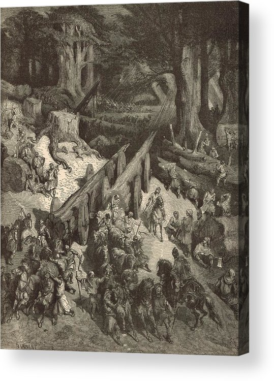 Biblical Acrylic Print featuring the drawing The Cedars Destined For The Temple by Antique Engravings