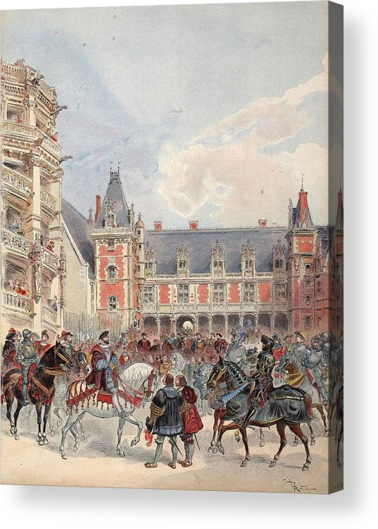 France Acrylic Print featuring the drawing The Court In Chateaus Of The Loire by Albert Robida