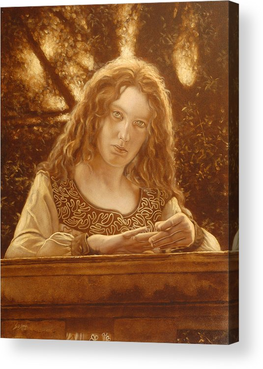 Girl Acrylic Print featuring the painting The Meeting Place by John Silver