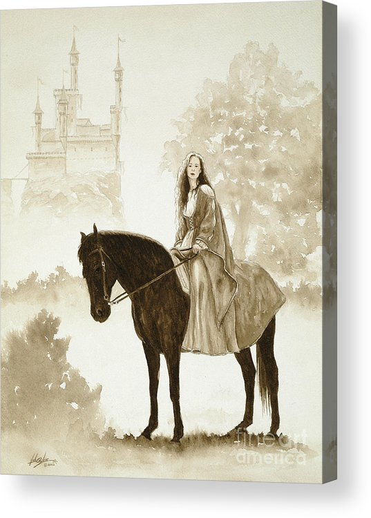 Fantasy Acrylic Print featuring the painting The Princess Has A Day Out. by John Silver
