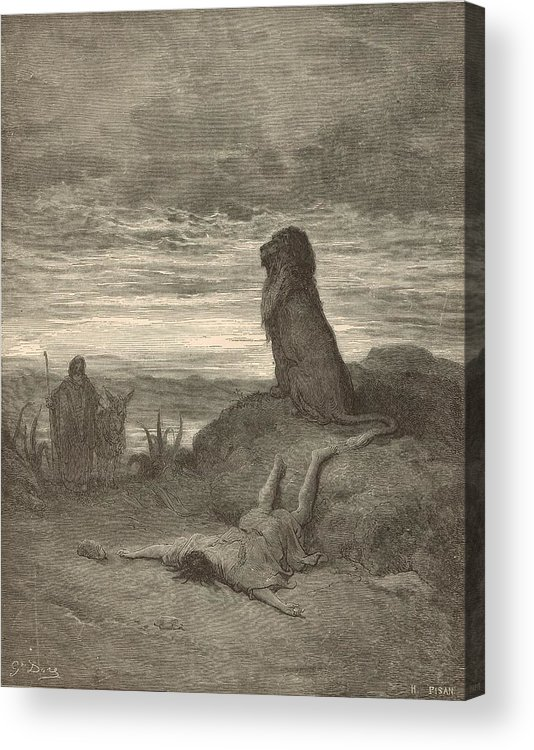 Biblical Acrylic Print featuring the painting The Prophet Slain By A Lion by Antique Engravings