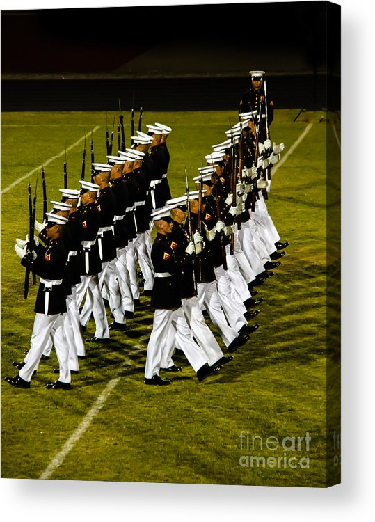Tunited States Acrylic Print featuring the photograph The United States Marine Corps Silent Drill Platoon by Robert Bales