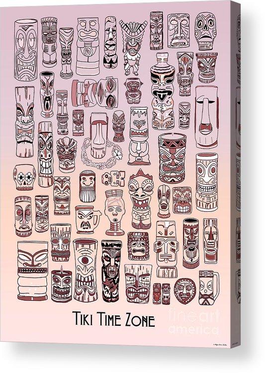 Ancient Relic Acrylic Print featuring the digital art Tiki Sunset Zone by Megan Dirsa-DuBois