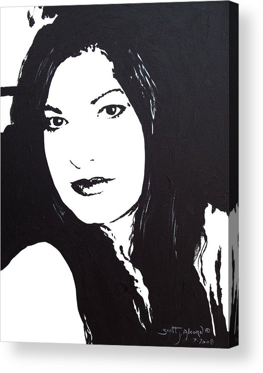Portrait Acrylic Print featuring the painting To See You by Scott Alcorn