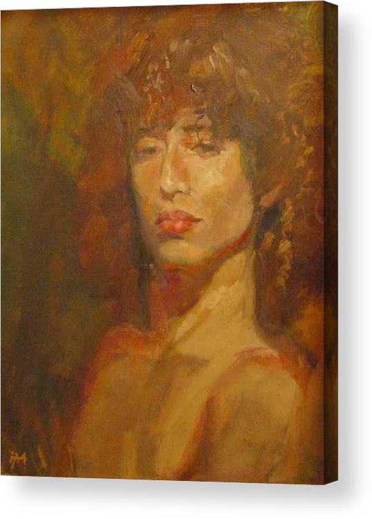 Portrait Acrylic Print featuring the painting Tracy by Irena Jablonski