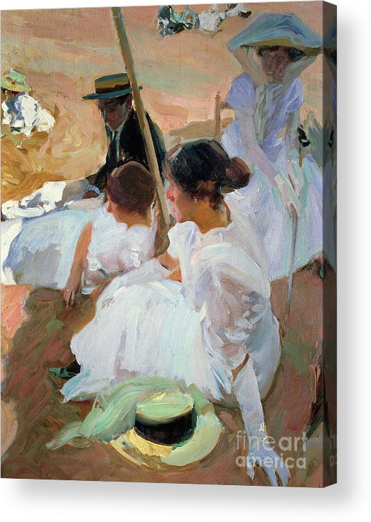 North West; Spain; Boater; Gloves; Hat; Beach Scenes Acrylic Print featuring the painting Under The Parasol by Joaquin Sorolla y Bastida