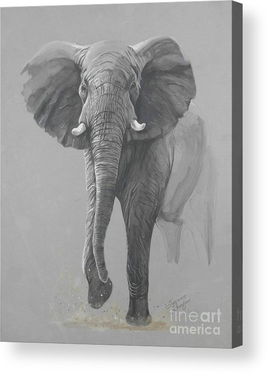 Elephant Acrylic Print featuring the painting Vanishing Thunder by Suzanne Schaefer
