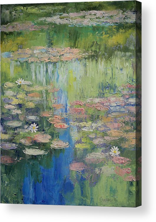 Water Acrylic Print featuring the painting Water Lily Pond by Michael Creese