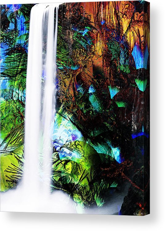 Waterfall Acrylic Print featuring the mixed media Waterfall Enchantment II by Catherine Harms