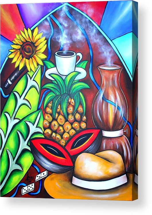Cuban Paintings Acrylic Print featuring the painting Welcome To Here And Now by Annie Maxwell