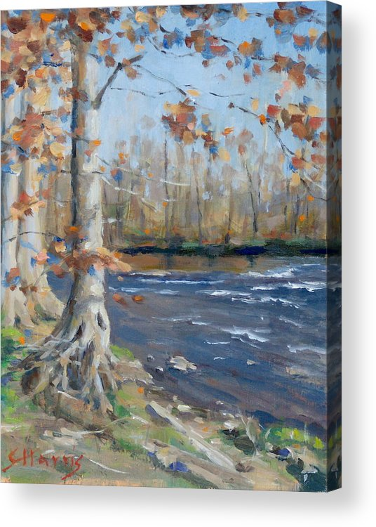 Edwin Warner Parks Acrylic Print featuring the painting Winter On The Little Harpeth by Sandra Harris