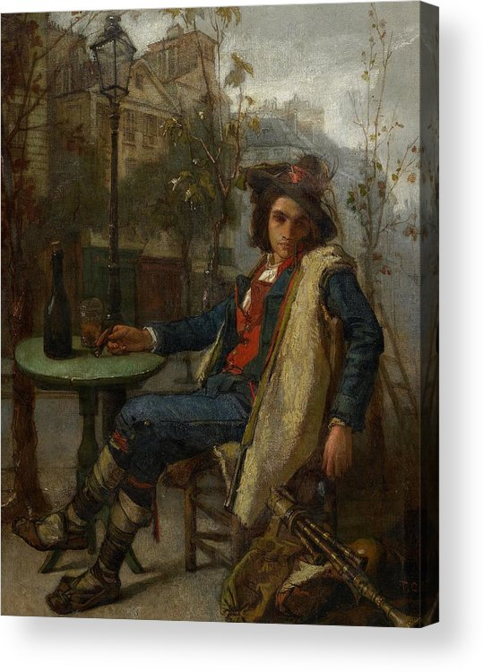Young Italian Street Musician Acrylic Print featuring the painting Young Italian Street Musician by Thomas Couture
