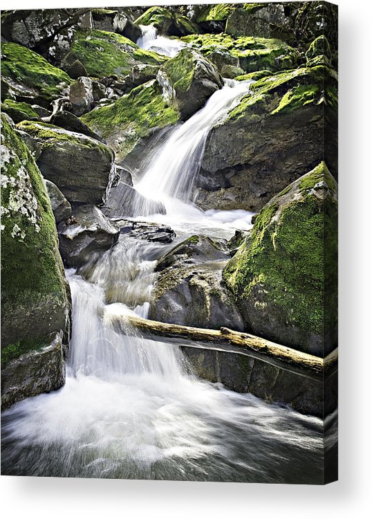 Arkansas Acrylic Print featuring the photograph 0804-0035 Cascade Above Triple Falls by Randy Forrester