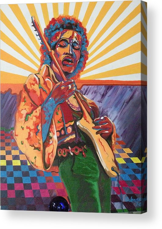 60's Musicians Acrylic Print featuring the painting Purple Haze by Chuck Jensen