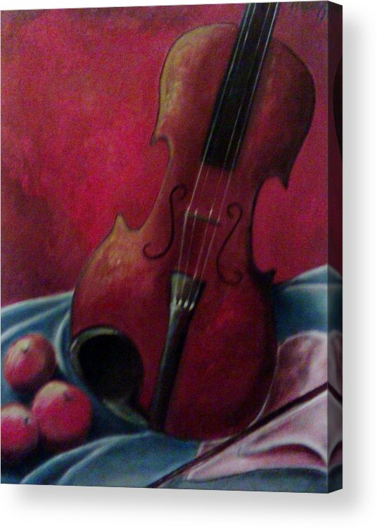 Violin Acrylic Print featuring the painting Violin With Apples by Melissa Cruz