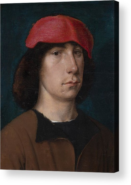 Young Acrylic Print featuring the painting A Young Man In A Red Cap by Michiel Sittow