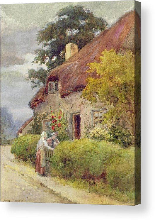 Thatched Cottage Acrylic Print featuring the painting An Evening Gossip by Joshua Fisher
