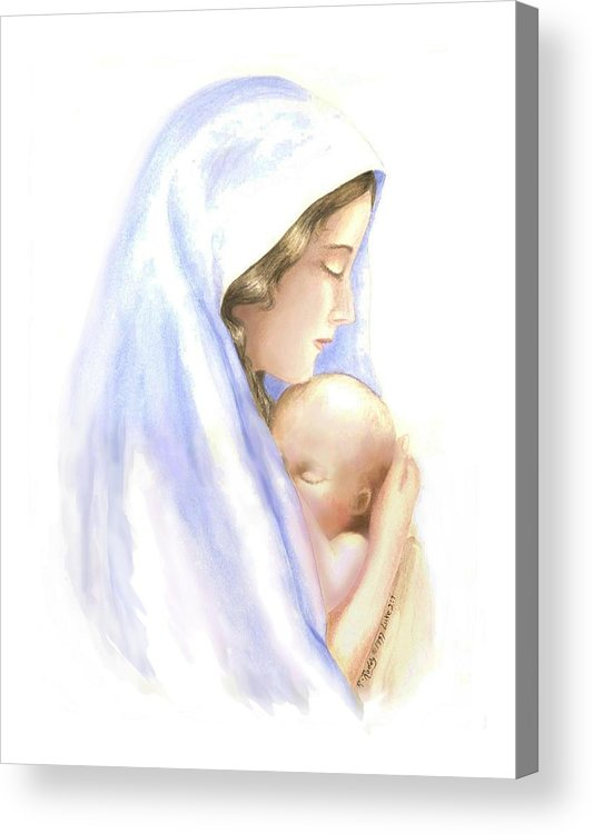 Watercolor Impressionist Portrait Of Mary And Child. Acrylic Print featuring the painting First Born by Roberta Roddy