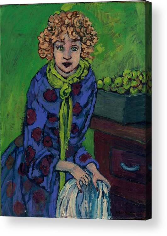 Woman Acrylic Print featuring the painting Little Green Apples by Patty Fleckenstein