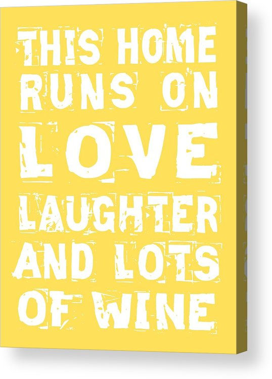 Love Acrylic Print featuring the digital art Love And Lots Of Wine Poster by Jaime Friedman