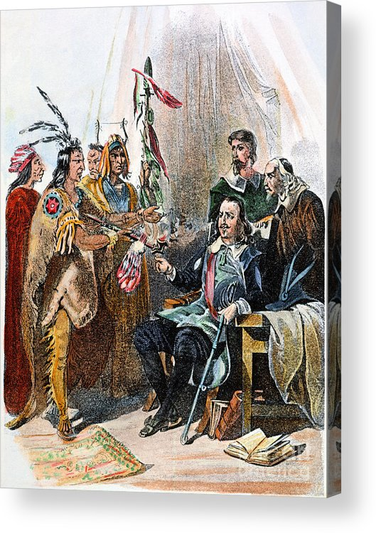 1620 Acrylic Print featuring the photograph Massasoit & Carver, 1620 by Granger