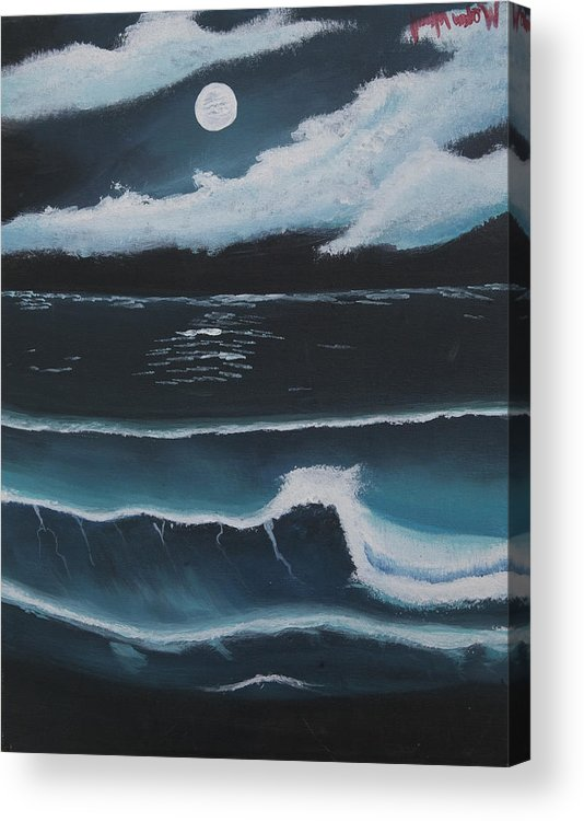 Beach Acrylic Print featuring the painting Moon Beach by Megan Wood