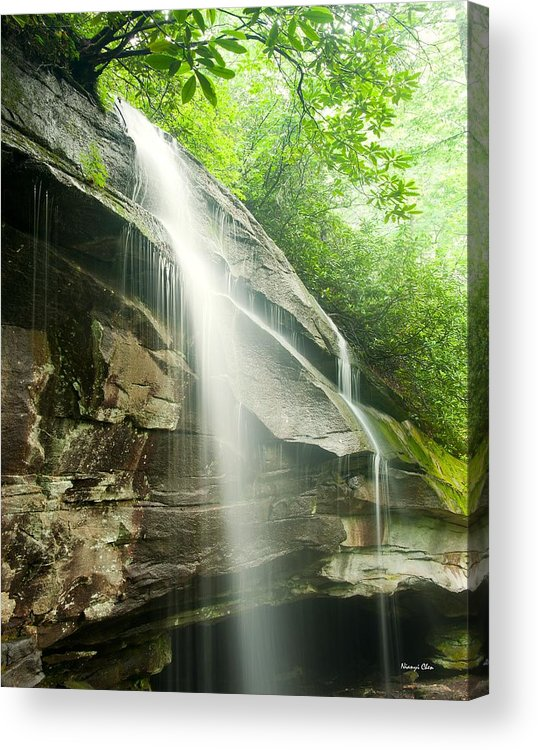 Moore Cove Falls Acrylic Print featuring the photograph Moore Cove Falls by Nian Chen