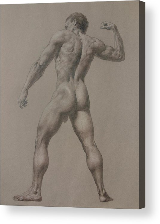 Man Acrylic Print featuring the drawing Nude-8 by Valeriy Mavlo