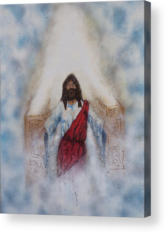 Art Acrylic Print featuring the painting Out Of The Midst Of The Throne Came The Lamb by Thomas Lentz