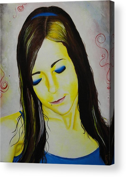 Girl Acrylic Print featuring the painting Portrait In Yellow by Jean Kieffer