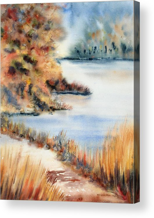 Landscape Acrylic Print featuring the painting Red Maple Lake by Kristine Plum