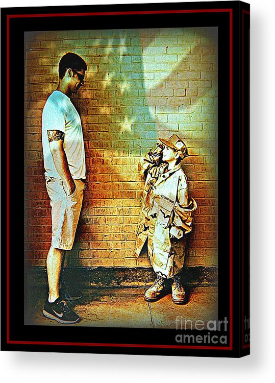 America Acrylic Print featuring the photograph Spirit Of Freedom - Soldier And Son by Leslie Revels