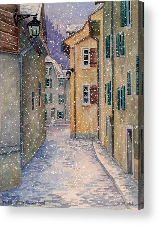Switzerland Acrylic Print featuring the painting St Ursanne In Snow by Scott Nelson
